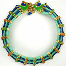 Hattie Carnegie Egyptian Revival Falcon Heads Lapis & Turquoise Choker Necklace