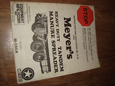 Meyer's Heavy Duty Manure Spreaders Instruction And Parts Book M-350A