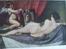 ANTIQUE PRINT C1930S VENUS AND CUPID BY DIEGO DE SILVA Y VELAZQUEZ PAINTINGS ART