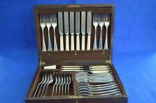 Antiguo Mappin & Webb Cantimplora De Cubiertos De Plata - 42 piezas-Caja De Roble