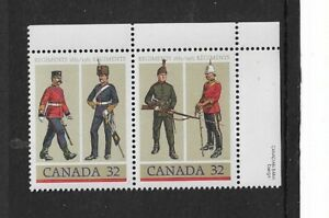 1983 Canada - Army Regiments - Corner Pair - Mint and never Hinged.
