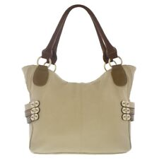 Melie Bianco Evelyn Tri Colored Belted Purse Handbag in Beige with Gold Studs