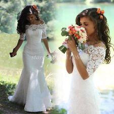 Beautiful mermaid lace half sleeve wedding dress custom size