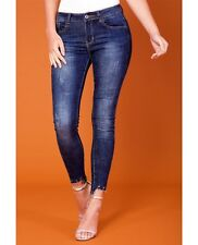 Forever Unique U Collection Women's Indigo Distressed Denim Jeans - Dark Blue