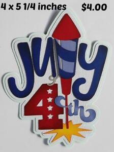 JULY 4TH TITLE summer paper piecing 3D die cut for scrapbook page Rhonda