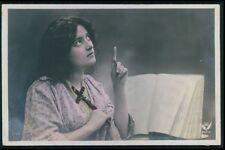 Woman Lady Devoted Catholic Religion Bible Pray original 1910 photo postcard 29