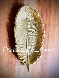 LOVELY GOLD FEATHER DECORATIVE TRINKET DISH HOME DECOR / RINGS, JEWELLERY 12.5cm