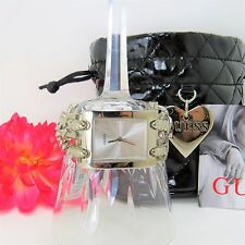 GUESS Women's Watch Double G-Link G75916L With Black Quilted Pouch Brand New
