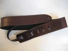 LEATHER BROWN SHINNY BASS GUITAR STRAP