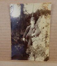 Photograph Dapper Edwardian gentleman 3 piece Suit Bowker hat in Garden Dandy