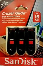 SanDisk Cruzer Glide USB Flash Drive - Pack of 3 - 16 GB Storage Drives = 48 GB
