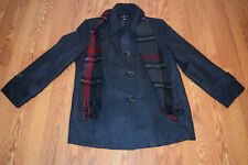 e88943697999a NWT Womens London Fog Charcoal Gray Red Wool Scarf Peacoat Coat Jacket Size  L