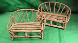 Rustic Vintage Bent Twig Doll Loveseat Benches set of two