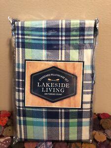 NIP Standard  LakeSide Living Pillowcase Set 300 Thread Count Blue, Green, White