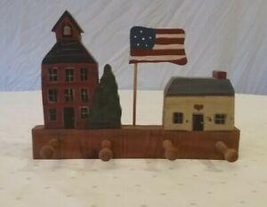 Wood School House Flag and House key chain Holder