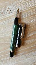 """Pelikan M600 Souverän Green Fountain Pen, 14k Gold, Medium """"M"""" Nib, New"""