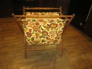 Vintage Folding Sewing Knitting Basket Cloth Fabric Bag Wood Frame Decor NICE!!