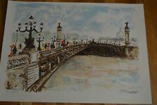 "Urbain Huchet "" Bridge  "" Original Lithograph Hand Signed 40 / 50 HC Edt"