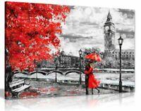 London Oil Painting Artwork Big Ben Red Umbrella Canvas Wall Art Picture Print