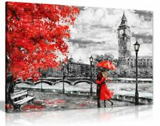 London Oil Painting Artwork Big Ben Red Umbrella Canvas Wall Art Picture Print