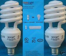 (2) 3 Way Compact Fluorescent Light Bulbs Mini Spiral CFL 11/20/26w = 50/75/100w