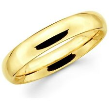 Mens Women Solid 14K Yellow Gold Plain Wedding Ring Band Comfort Fit 5MM Size 8