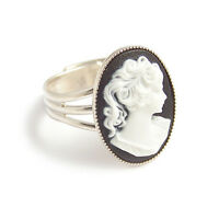 Black white CAMEO RING victorian goth gothic steampunk wedding elegant