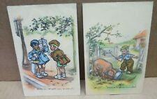 GERMAINE BOURET 2 cartes postales illustrées enfants cochon pub Samaritaine