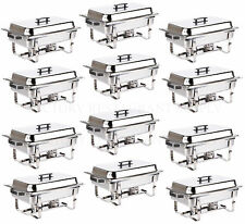 12 PACK CATERING STAINLESS STEEL CHAFER CHAFING DISH SETS 8 QT FULL SIZE BUFFET