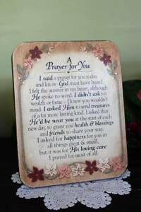 Prayer Sign Plaque A Prayer For You Wood Floral Design Happiness and Health
