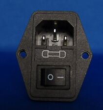 Fused Switched IEC Sockets AC 10A Mains 3 Inlet Module Plug Fuse Switch Socket