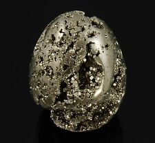 """PYRITE Polished Egg Geode fools gold 74.9 grams 1.76"""" w/ Healing Property Card"""