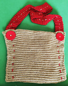 Handmade Knitted Shoulder Bag Gold Red Zip Closure Fully Lined New