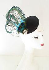 Green Black Peacock Feather Fascinator Headpiece Races Hair Clip Vintage 20s A26