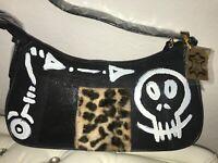 Handtasche Tasche bag echt LEDER UNIKAT designer Totenkopf skull hexe gothic leo