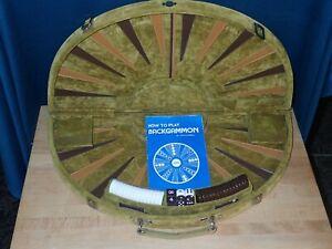 Vintage Skor Mor Round Backgammon Set, Green Plush Velvet, with instructions