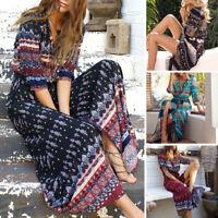 Plus Size 5XL Dress Women V-Neck Summer Beach Long Sundress Short Sleeve Party