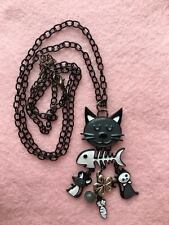 NEW Long Cat Mouse Fishbone Quirky Charm Enamel Necklace Grey White Black Chain