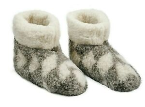 WOMEN  100% GRAY WHITE SHEEP  MERINO WOOL  BOOTS HOUSE SLIPPERS  SUEDE SOLE