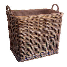 Sturdy Tall Oblong Lined Grey Rattan Wicker Storage Log Basket with Wheels