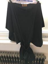 KZ Black Mini Dress Batwing Kimono Sleeves Belted Waist S Small New