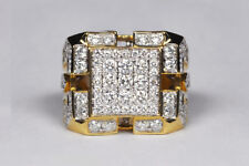 3.00 Ct Diamond Heavy Mens Cluster Engagement Band Ring In 14K Yellow Gold Fn