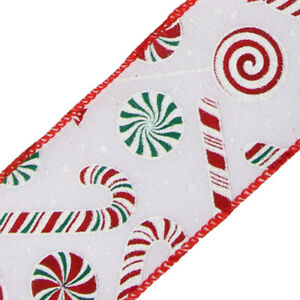 9.1m 63mm Candy Cane Christmas Wired Edge Ribbon for Crafts