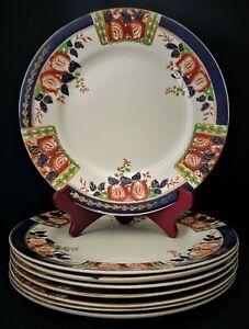 "8 Thomas Hughes & Son Ltd England Hand Painted Windsor Derby 10 "" Dinner Plates"