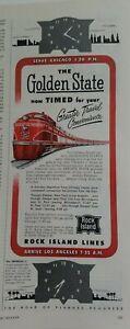 1910 Rock Island Railroad Railway Golden State Chicago vintage train ad