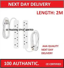 4 Gang Way Uk 13A Trailing Socket Mains Power Extension Lead White 2 m