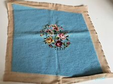 """Vintage Completed Preworked Chair Needlepoint Canvas Floral Roses Blue 20""""x20"""""""