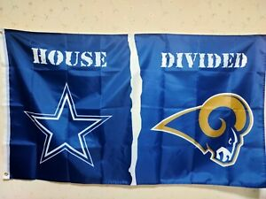 Dallas Cowboys St. Louis Rams House Divided Flag 3X5 FT NFL Banner Polyester