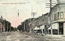c1910 Printed Postcard; Main Street Scene, Waupun WI Fond du Lac County Posted