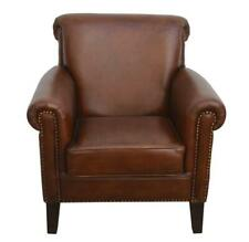 DISTRESSED RUSTIC STYLE RICH BROWN GENUINE LEATHER ARMCHAIR LOUNGE CHAIR